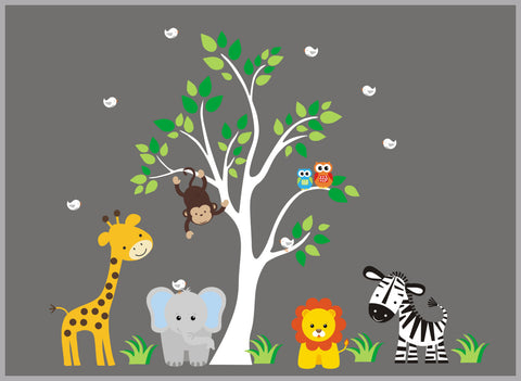 "Animal Decals for Baby Nursery - Safari Jungle Wall Decals for Children's Room - Adhesive Peel and Stick Wall Decals - Removable - 83"" x 97"""