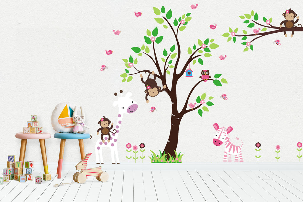 "Baby Girl Wall Decal - Baby Girl Nursery Wall Decal - Girls Room Mural - Animal Wall Art - Baby Wall Stickers - Owl Wall Decal - 85"" x 80"""