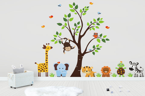 "Animal Wall Art - Nursery Wall Decals - Baby Wall Stickers - Jungle Wall Sticker - Wall Decal Tree - Nursery Room Wall Decals - 83"" x 156"""