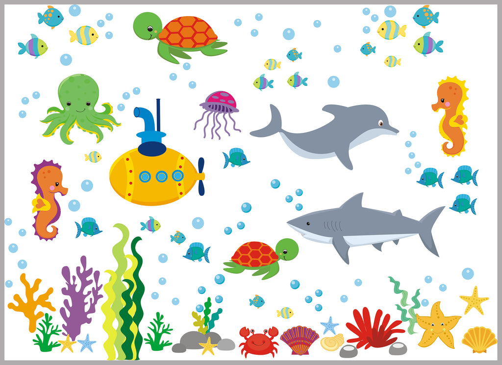 Submarine Turtle Octopus Decal