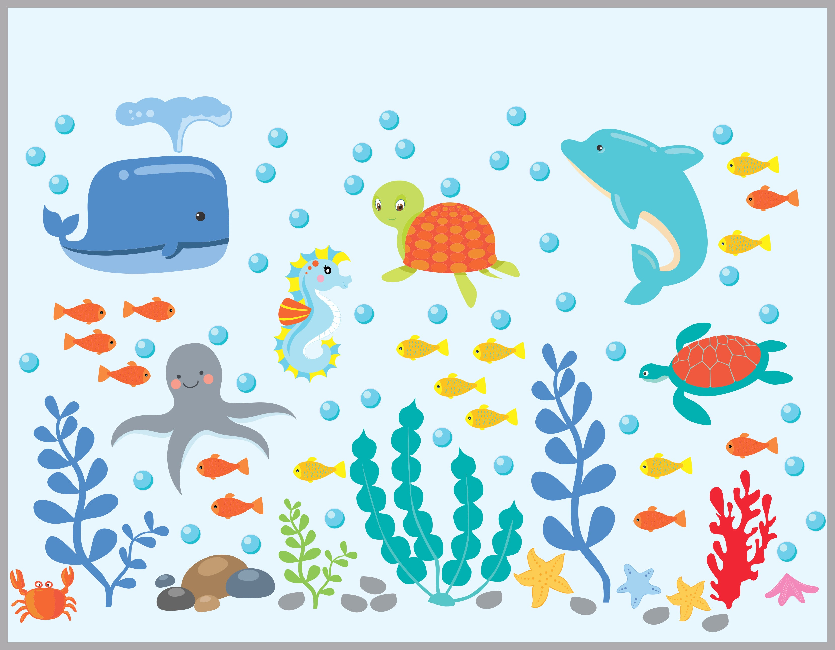under water shark decal Nursery decal Whale octopus vinyl wall decal Coral Fish Wall decal Ocean decal seaweed