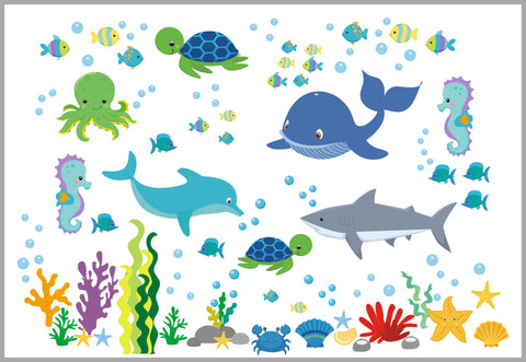 Ocean Life Nursery Decals - Under the Sea Theme - Marine Life Wall Stickers - Dolphin - Fish - Whale - Turtle - Shark