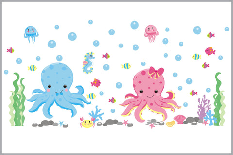 Under the Sea Nursery Decals - Octopus Wall Stickers - Sea Creatures - Boys and Girls Theme - Baby Life