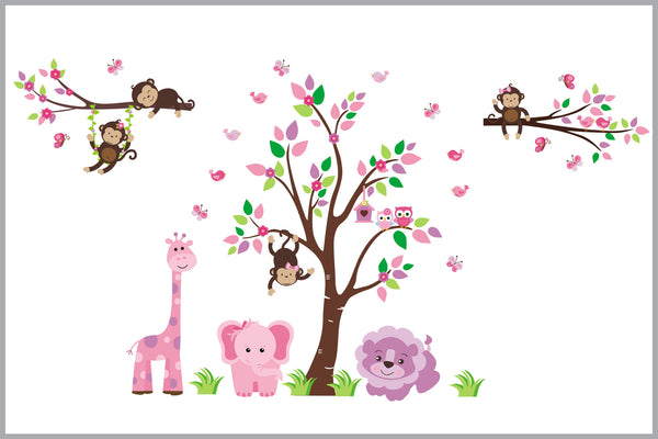 Baby Girls Room Decals Jungle Animal Stickers