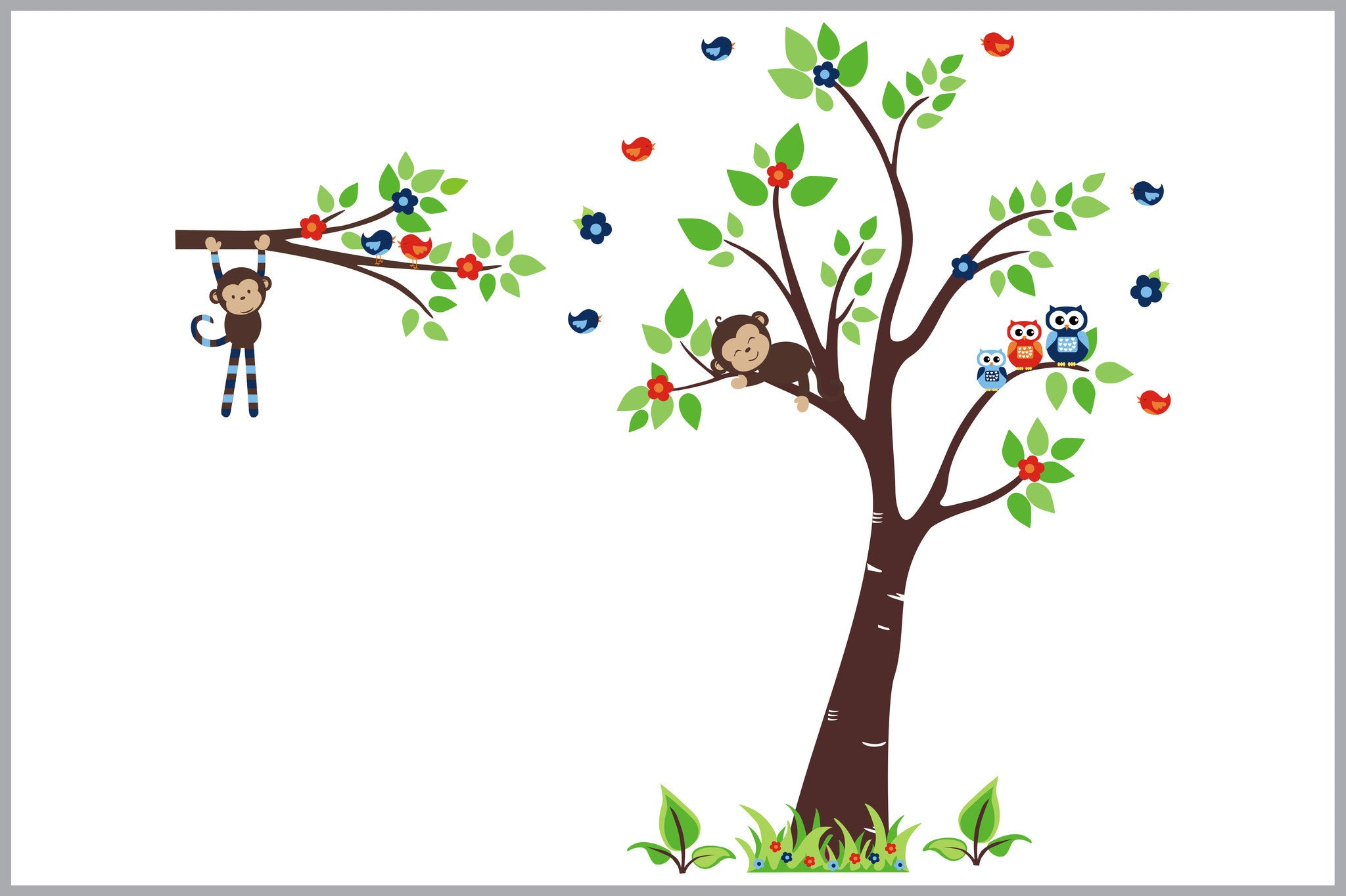 Tall Tree With Monkey Design Nursery Wall Decals Wall Stickers For Kid S Room Forest Themed