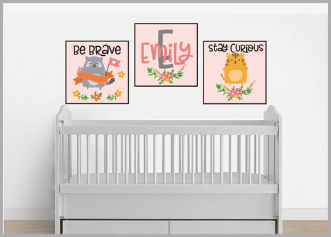 Wall Decals Nursery - Peel and Stick - 3 Square Decals - Panel Shapped - Monogrammed - Cute Quotes - Nursery Room Decor - Individual Pieces