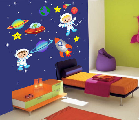 Outer Space Rocket Astronaut Fun Nursery Decals - Rocket Ship - Cosmos - Planets - Stars - Stickers