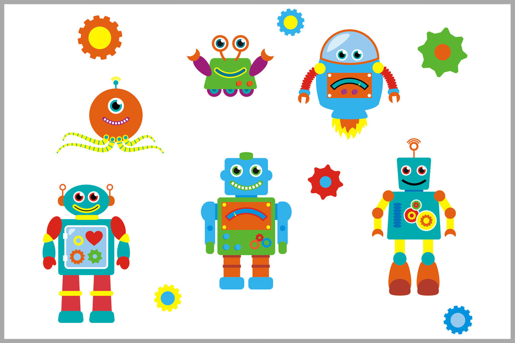 Robots Aliens Gears Galaxy Boys Nursery Decals
