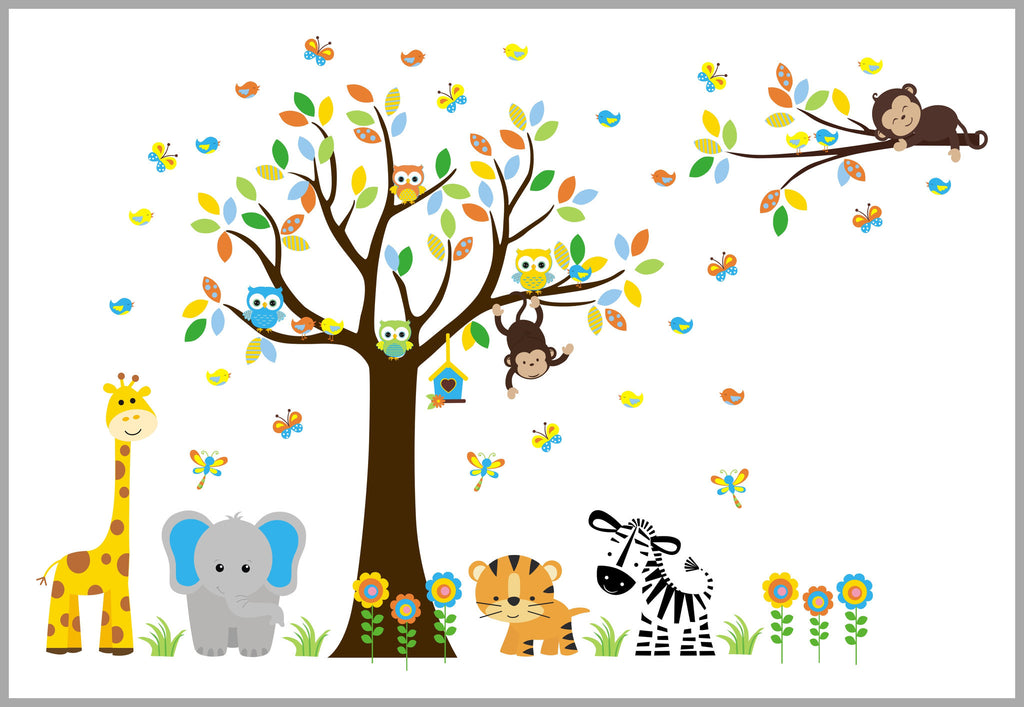 Safari Animal Wall Decals Baby Room Decorations