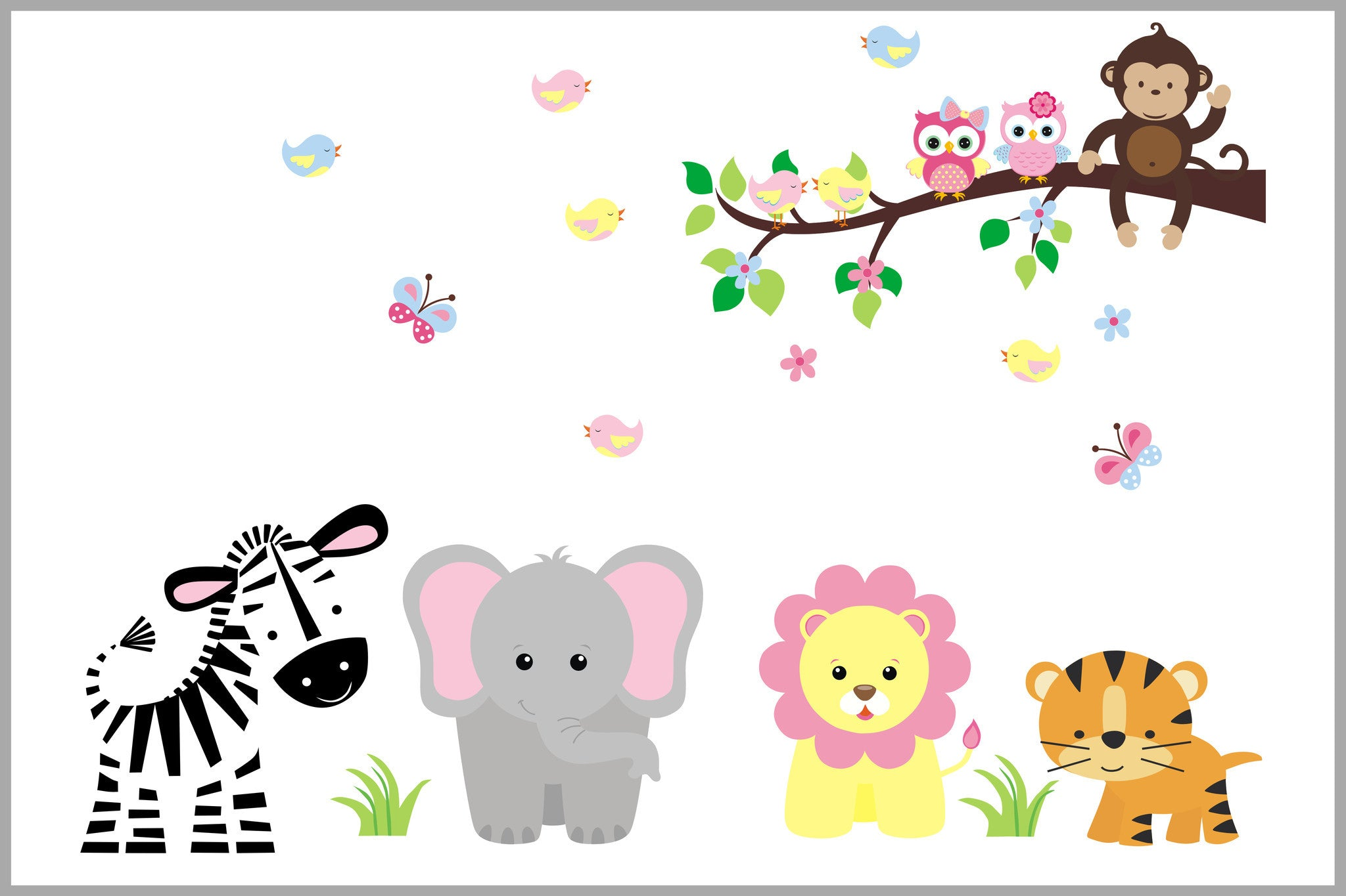 Girly Pastel Jungle Animals   Nursery Decal with Branch ...