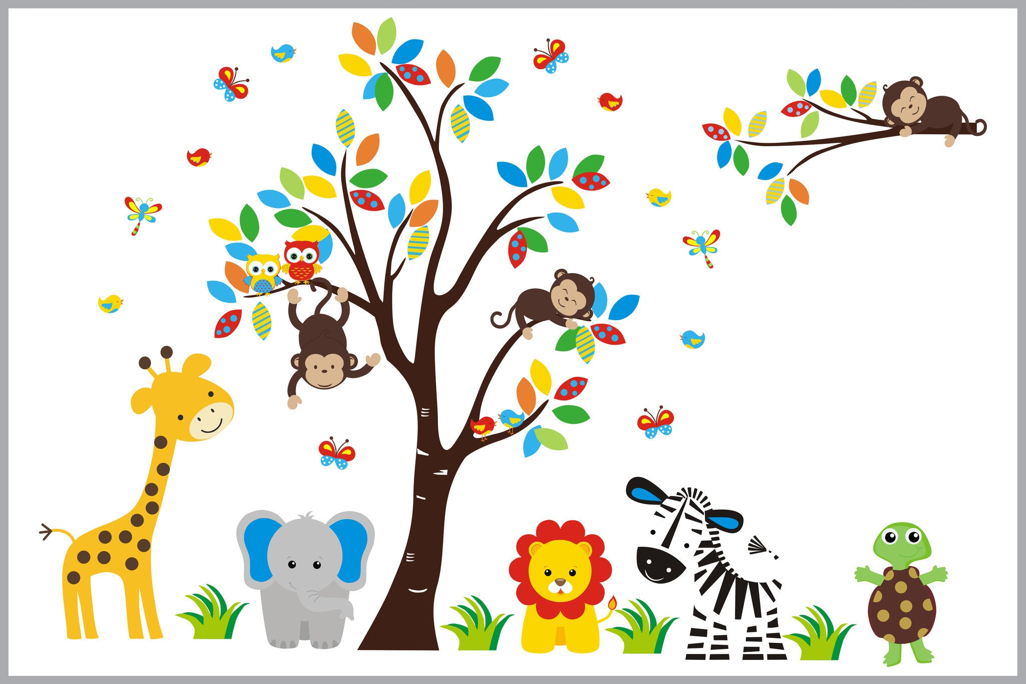 Sweet Elephant Bright Colored Jungle Wall Decal Nursery Room - Wall decals jungle
