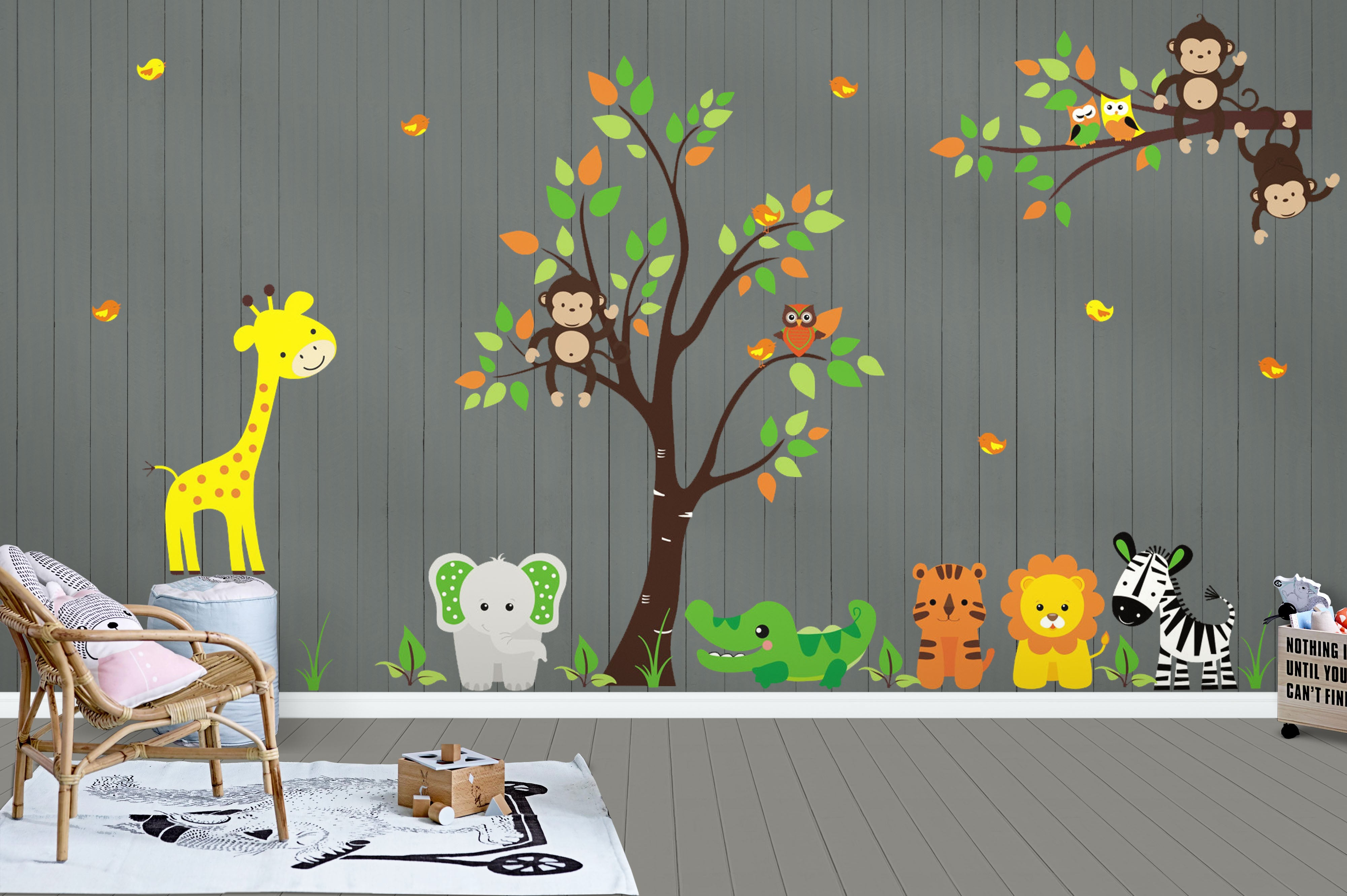Gender Neutral Baby Decals Tree Wall Decals Jungle Wall Stickers