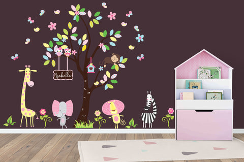 "Girls Baby Decals - Jungle Themed Stickers - Kids Room Decorations - Baby Room Stickers - Pink and Yellow Colors - Reusable - 83"" x 97"""