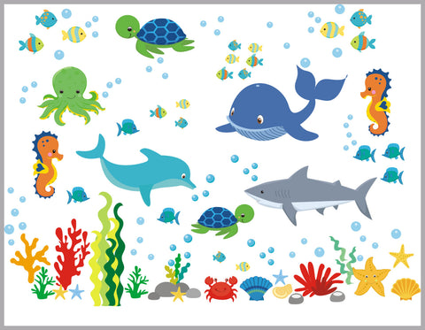 "Marine Life Decal - Aquarium Wall Decal - Ocean life Wall Stickers - Seahorse Wall Decal - Under the Sea Theme - Whale - Shark - 50"" x 65"""