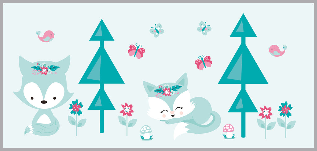 Teal Fox Tree Decals