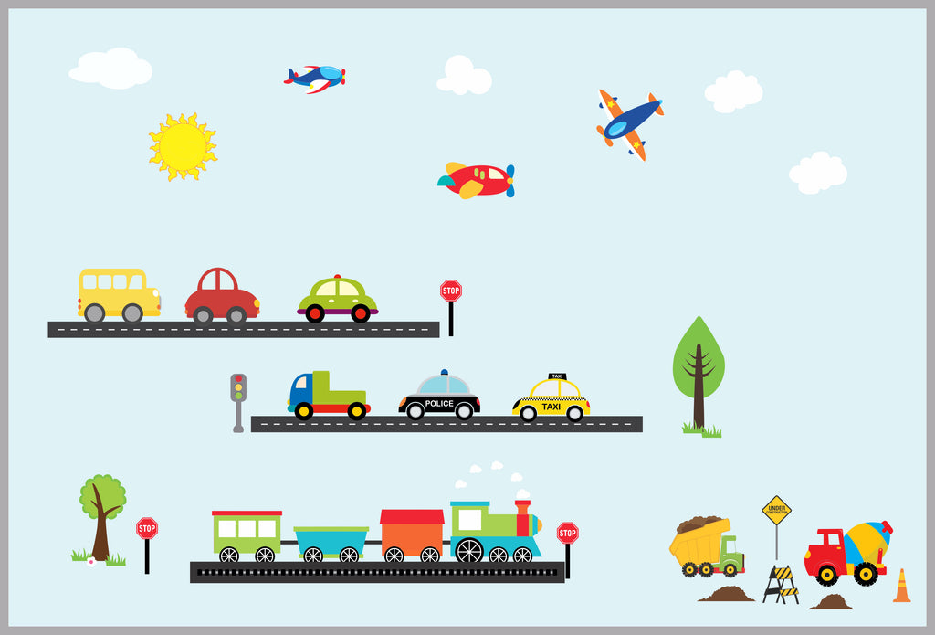 Trains and Transportation Baby Decals