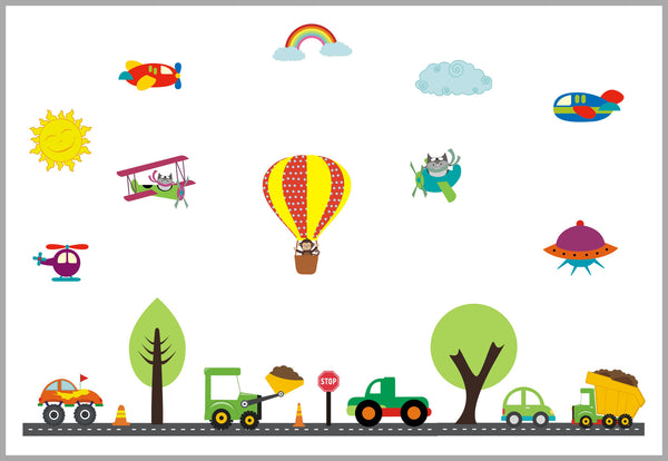 Transportation Nursery Decals Hot Air Balloons Airplanes Trucks Cars