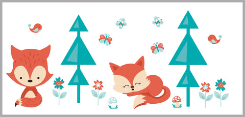 Baby Fox Decal - Girl Fox Stickers - Nursery Wall Decals - Forest Animal Decals - Butterfly Decals - Woodland Decals - Tree Wall Decals