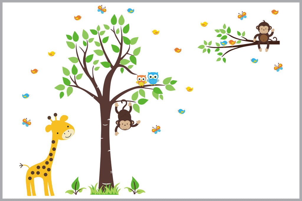 Giraffe Jungle Safari Nursery Decals Monkey Branch