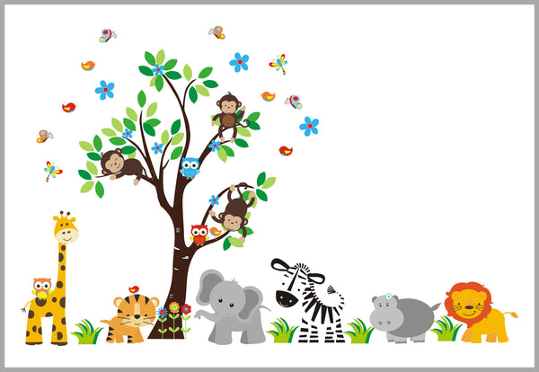 Boy's Nursery Wall Decals Jungle Animals Tree