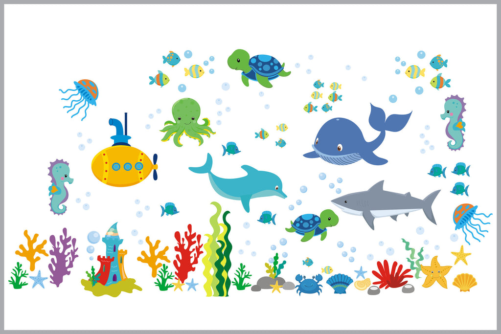 Sea Creatures Wall Decals Ocean Themed Nursery Decor