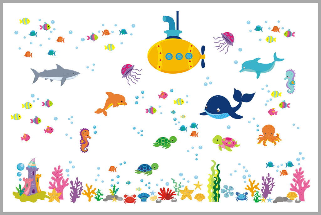 Ocean Wall Decals Nursery Girls Submarine Dolphin Shark Whale Turtle