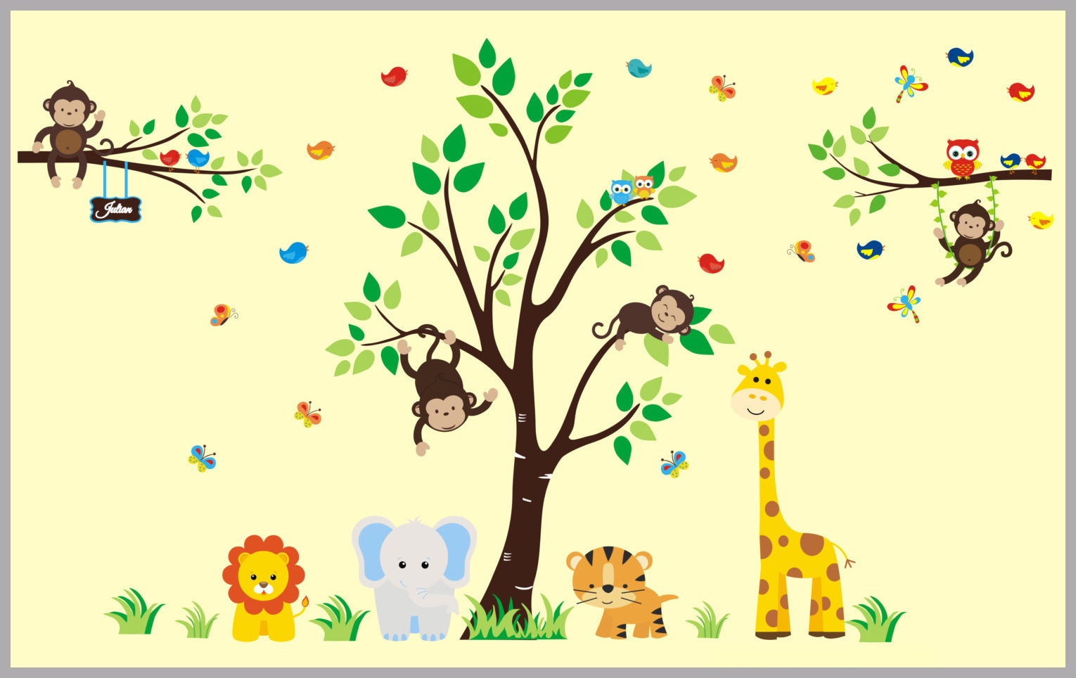 Jungle Nursery Decal | Fun Monkey on Swing | Large Tree Sticker ...