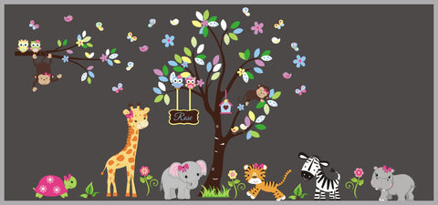Very Cute Girl's Themed Layout and Design - Nursery Wall Stickers - Pink Animals with Monogrammed Sign