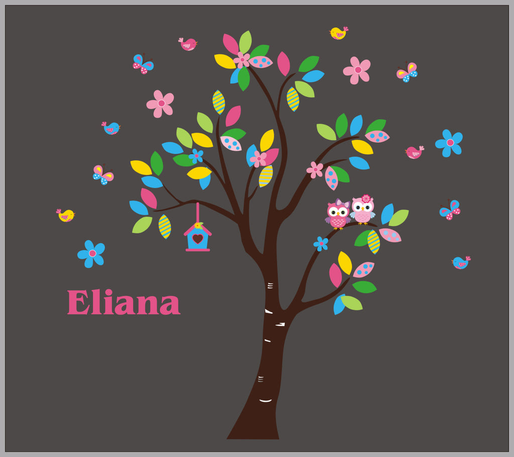 Pink Girls Tree Monogrammed Name