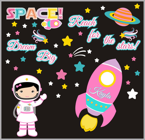 "Girls Space Wall Decals - RocketShip Decal - Girls Astronaut Decal - Monogrammed Outer Space Decal - Galaxy Wall Decal - 50"" x 65"""