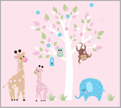 Girl's Pastel Baby Animal Decals