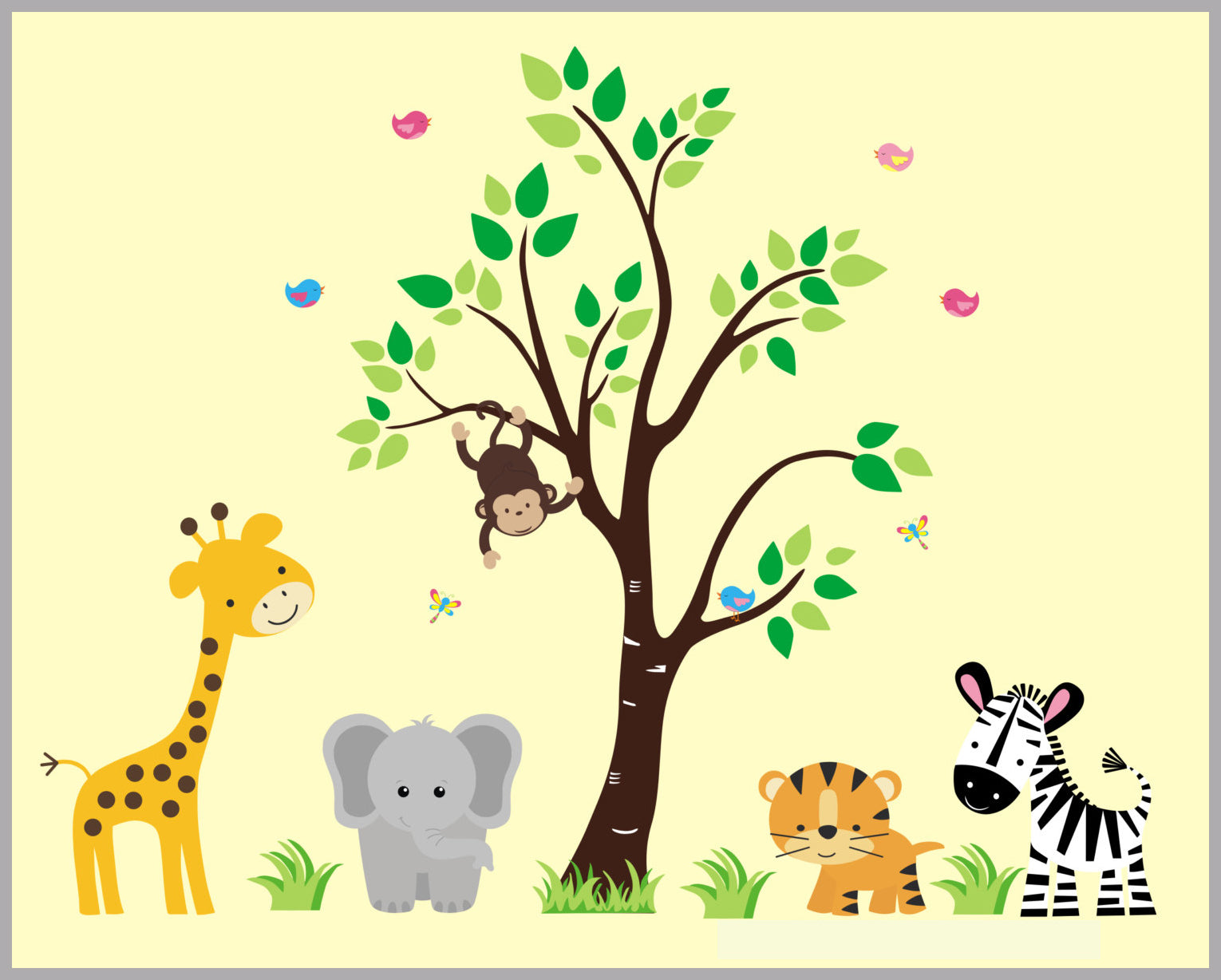 Nursery Wall Decals | Wall Decals Nursery | Safari Animal Stickers ...