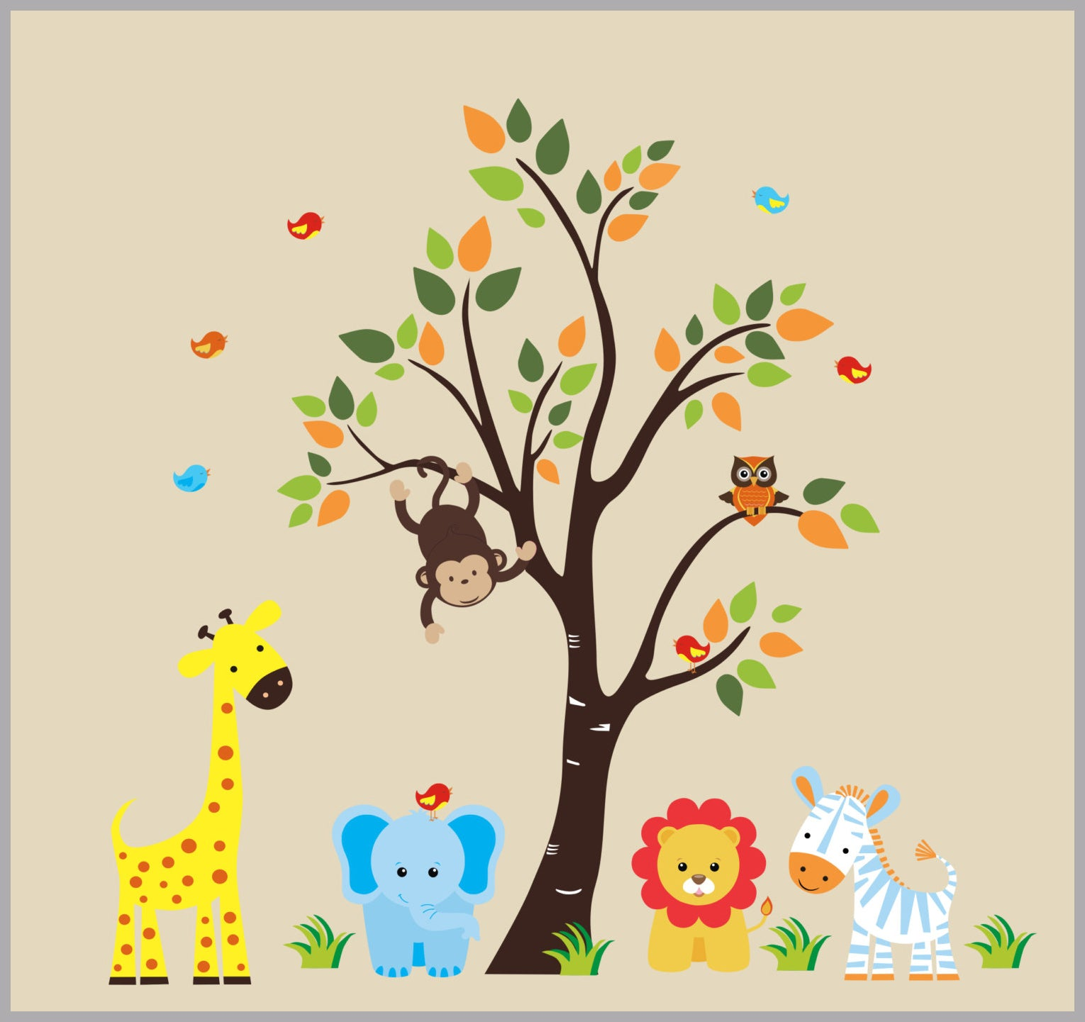 safari animal nursery decor jungle animal wall decals baby
