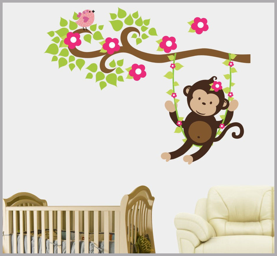 Girl's Monkey Cute Nursery Decal