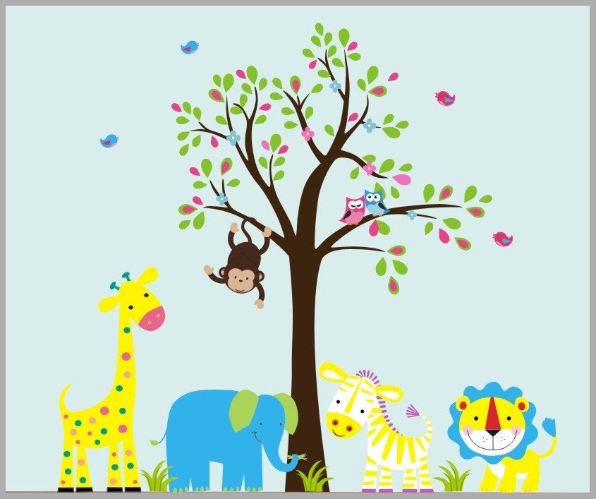 Yellow Animal Nursery Decals