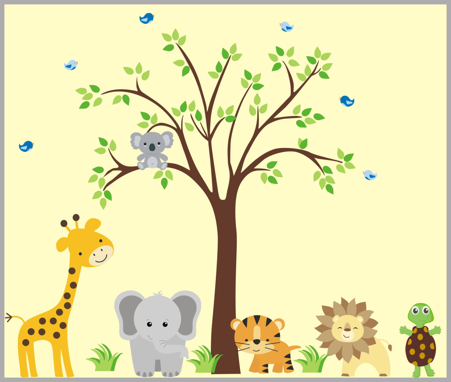 Jungle Animals Cuddly Koala Bear | Nursery Decals | Animal Wall Art ...