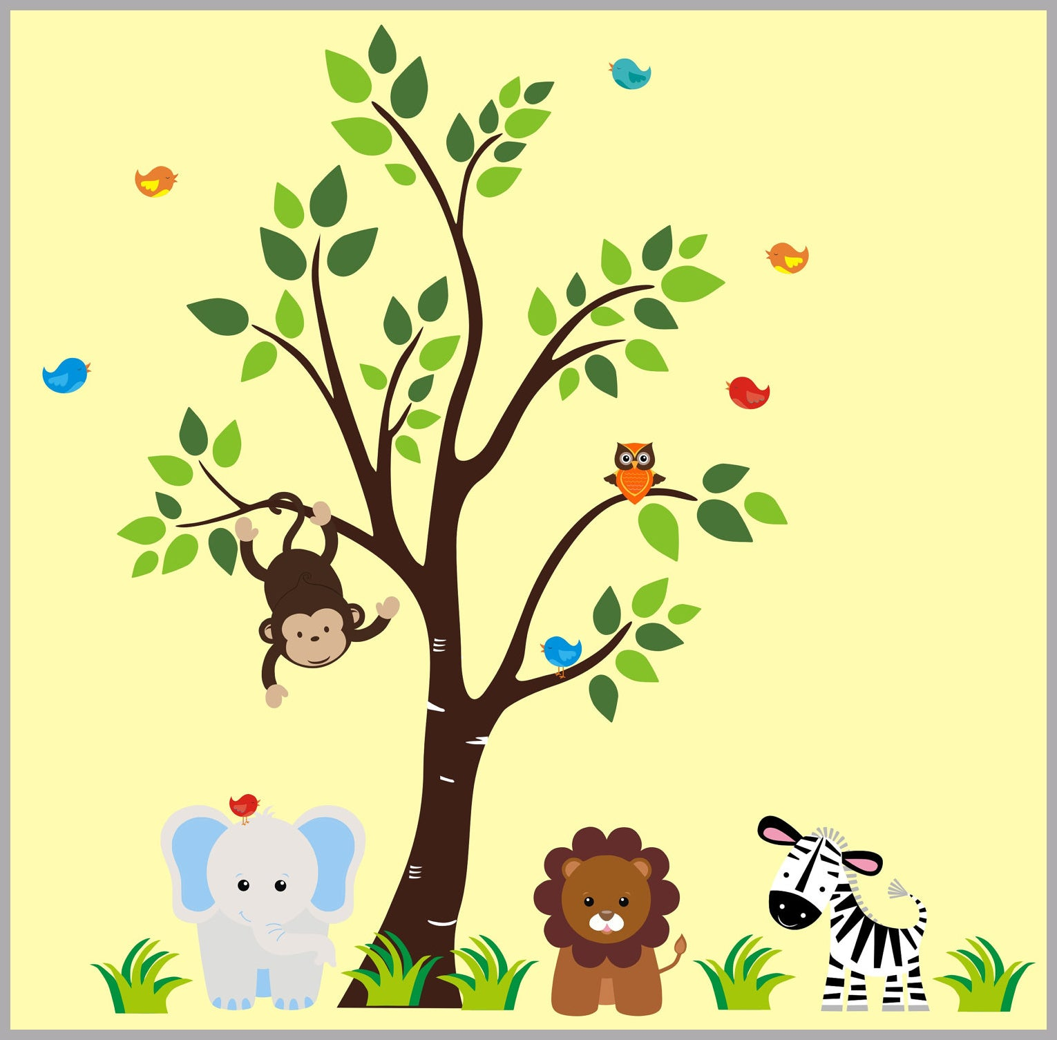 Wall Decals Stickers Baby Nursery Decor Jungle Safari Animals ...