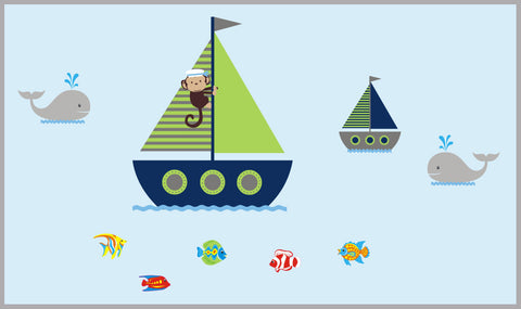 "Boat Wall Decals, Ocean Wall Decal, Monkey on a Boat Wall Decal, Boys Nursery Wall Decals, Whale Decal, Oceanic Wall Decal - 40"" x 80"""