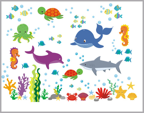 "Marine Life Decals - Oceanic Wall Decal - Under the Sea Wall Decal - Shark Decal - Whale Decal - Aquarium - Nursery Wall Decals - 50"" x 65"""