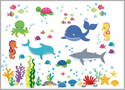 "Marine Life Wall Decals - Oceanic Wall Stickers - Aquarium Wall Decals - Shark Decal - Whale Decal - Octopus Decal - Kids Decals - 50"" x 65"""