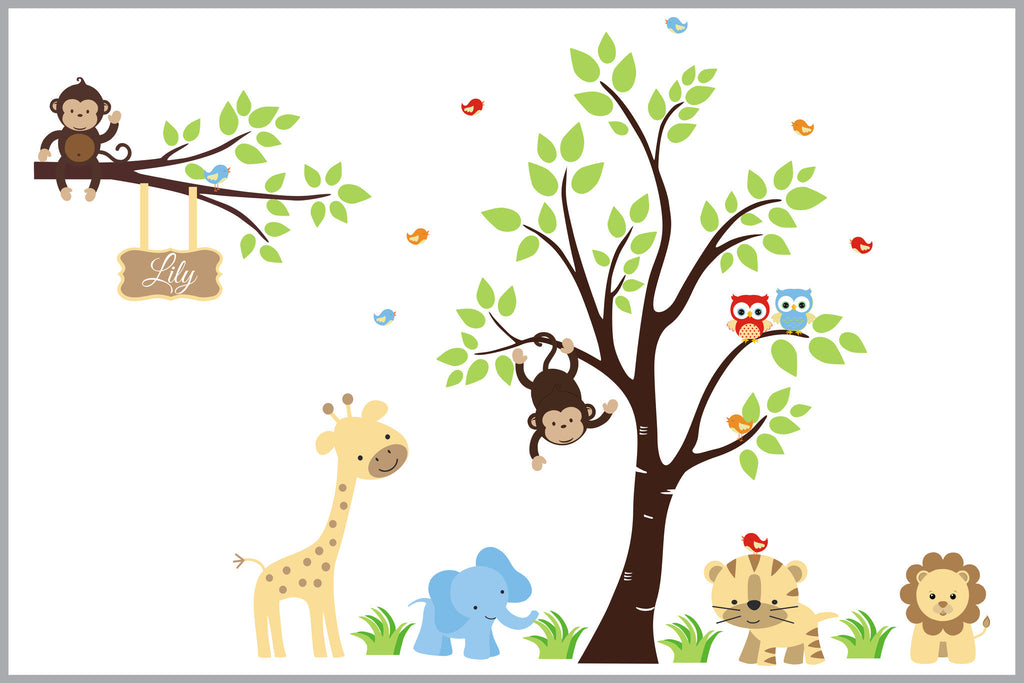 Jungle Animal Wall Stickers Kids Room Decorations