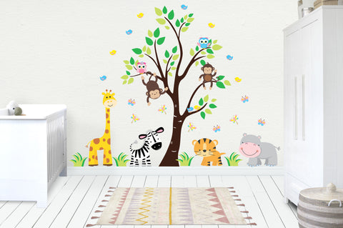 "Wall Decals Baby - Kids Room Stickers - Jungle Baby Decals - Safari Stickers - Baby Nursery Ideas - Cute Animal Decals - 85"" x 110"""