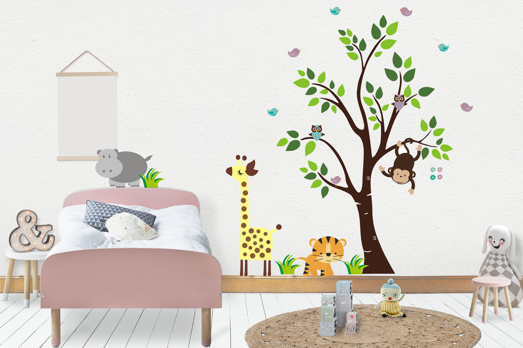 "Wall Decals Nursery, Animal Nursery Decals, Nature Wall Stickers, Reusable and Removable Nursery Decals, Wildlife Kids Decals - 85"" x 89"""