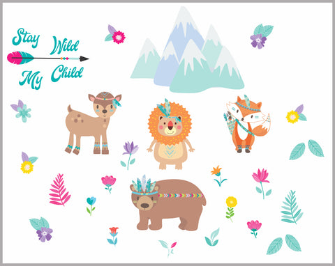 "Cute Forest Decals - Nursery Wall Decals - Bear - Mountain - Fox - Stay Wild My Child - Nursrey Decor - Wall Decorations - 85"" x 65"""