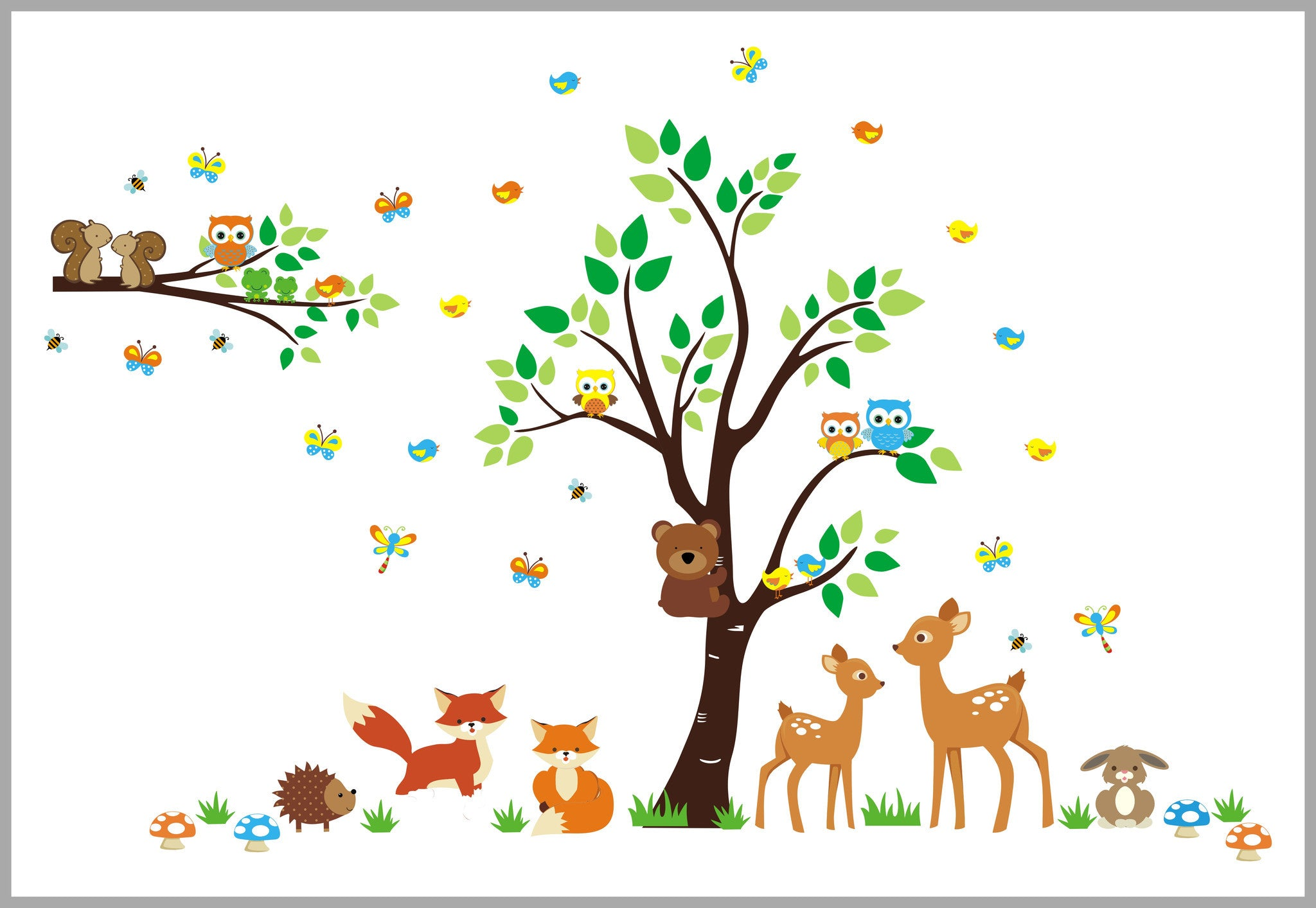 Forest Woodland Wall Decals Baby Room Fox Deer Rabbit Tree. Sweet Deer and Fox Woodland Decal   Nursery Room Decor   Large