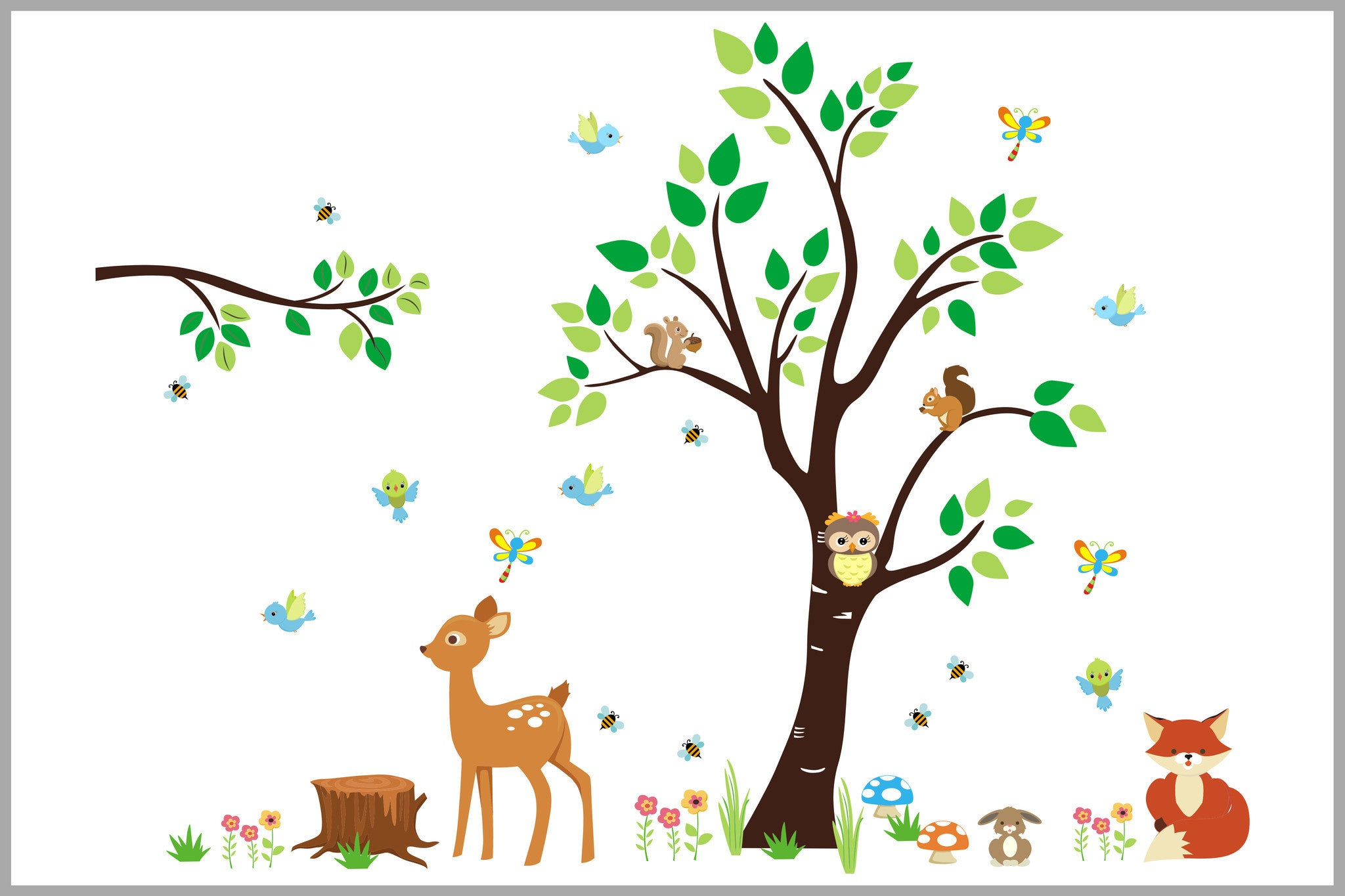 Baby Nursery Wall Stickers Tree Forest And Woodland Nursery Decor Removable And Reusable