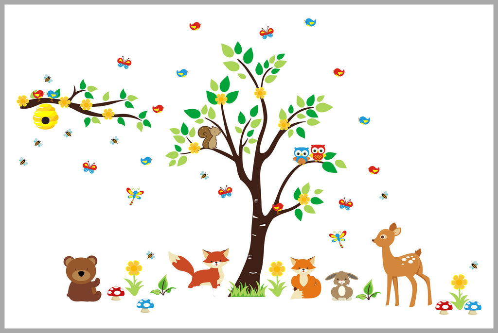 Forest Wall Stickers Nursery Decorations Fox Bear Beehive