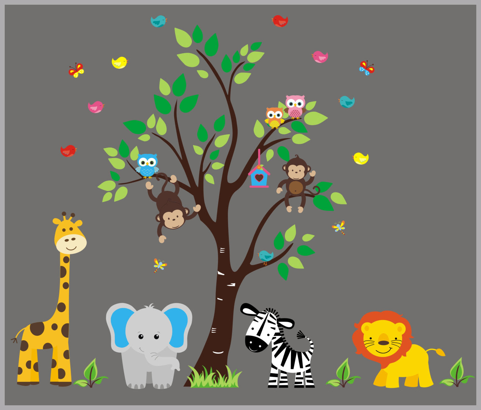 """Kids Room Wall Decals - Baby Nursery Wall Decal - Safari Wall Decals -  Jungle Wall Decals - Nursery Room Decor - Large Decals - 10"""" x 10"""""""