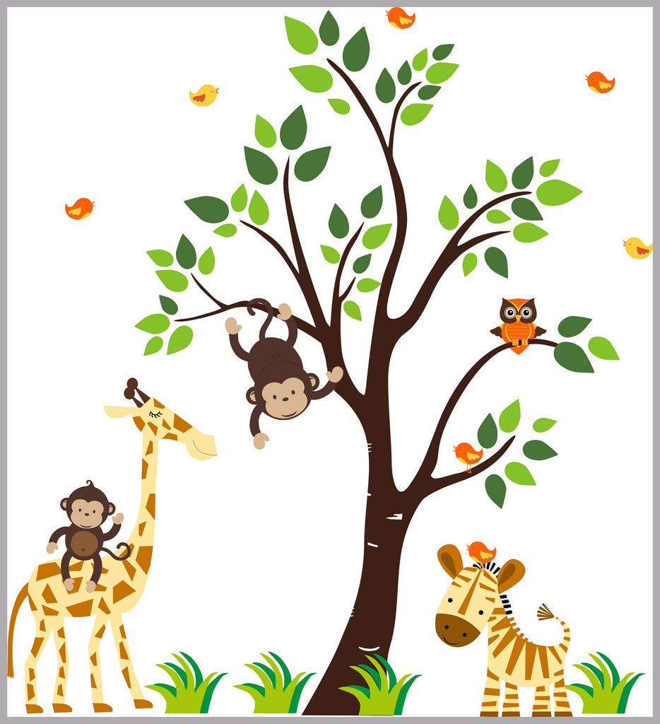 "Jungle Wall Decals - Safari Wall Decals - Tree Wall Decals - Nurseries - Nursery Animal Stickers - Orange Animal Decals - 63"" x 57"""