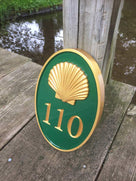 House number sign with Realistic Scallop Shell - Carved Street address marker (A169) - The Carving Company